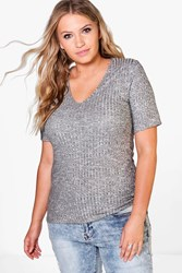 Boohoo Tia Ribbed Basic V Neck Tee Grey