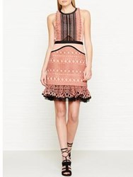 Three Floor Sundown Floral Embroidered Lace Panelled Dress Peach