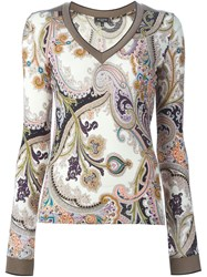 Etro Floral Paisley Print Sweater Nude And Neutrals