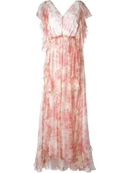 Philosophy Di Lorenzo Serafini V Neck Printed Gown Nude And Neutrals