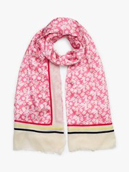 John Lewis Collection Weekend By Floral Cotton Blend Scarf Pink Mix