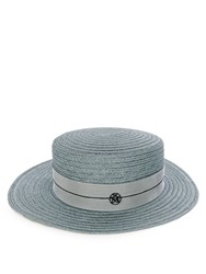 Maison Michel Kiki Hemp Straw Hat Light Blue