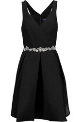 Marchesa Notte Pleated Crepe And Silk Blend Cloque Mini Dress Black
