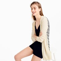 J.Crew Long Cardigan Sweater With Striped Back