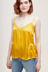 Anthropologie Laing Gathered Silk Lace Cami Dark Yellow