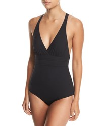 Athena Crisscross Back One Piece Swimsuit Black