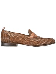 Silvano Sassetti Interlaced Effect Penny Loafers Brown