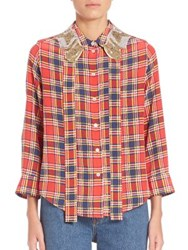 Marc Jacobs Sequin Collar Plaid Shirt Red Yellow Navy