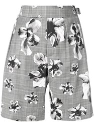 Neil Barrett Prince Of Wales Floral Shorts Grey