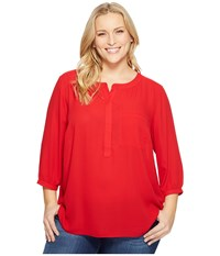 Nydj Plus Size Solid 3 4 Sleeve Pleat Back Sweet Strawberry Women's Long Sleeve Button Up Red