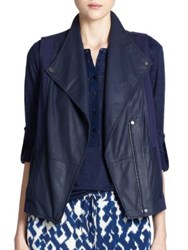 Vince Mixed Media Leather Vest Navy