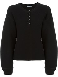 Alexander Wang T By Waffle Knit Oversized Jumper Black
