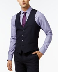 Bar Iii Navy Solid Extra Slim Fit Vest
