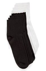 Hue Women's 4 Pack Scalloped Crew Socks White Black