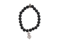 King Baby Studio Onyx Bead Bracelet With Baby Crowned Heart