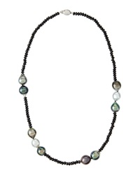 Belpearl Tahitian Pearl And Black Spinel Necklace