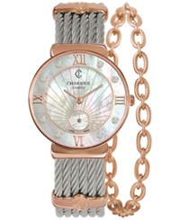 Charriol Women's Swiss St Tropez Diamond Accent Two Tone Steel Cable Chain Bracelet Watch 30Mm St30pd.560.010