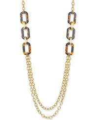 Charter Club Gold Tone Tortoiseshell Look Accent Double Layer Statement Necklace Only At Macy's Gold Tone