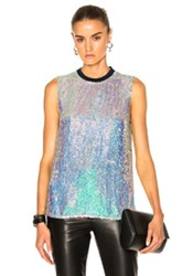 3.1 Phillip Lim Sequin Shell Top In Blue Metallics Blue Metallics