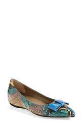 Anyi Lu 'Delia' Colorblock Hidden Wedge Flat Women Aqua Pitone Multi