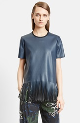 Cedric Charlier Fringe Faux Leather Top Navy