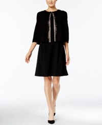 Calvin Klein Embellished Evening Cape Shawl Black