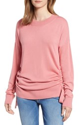 Chelsea 28 Chelsea28 Ruched Side Sweater Pink Apricot
