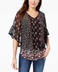 Styleandco. Style Co Petite Sheer V Neck Tunic Created For Macy's Dancing Dahlia