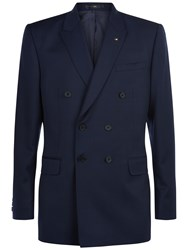 Jaeger Wool Regular Fit Double Breasted Suit Jacket Navy