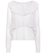 See By Chloe Knitted Mohair Blend Top White
