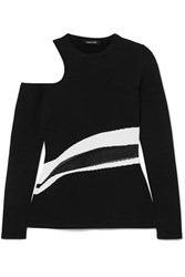 Cushnie Et Ochs Cold Shoulder Knitted Top Black