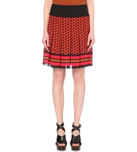 Michael Kors Pleated Silk Skirt Coral