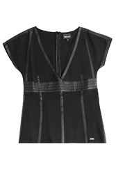 Just Cavalli Top With Leather Trim Black