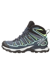 Salomon Xultra Mid 2 Gtx Walking Boots Grey Denim Deep Blue Lucite Green Dark Gray
