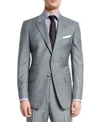 Tom Ford O'connor Base Sharkskin Two Piece Suit Light Gray