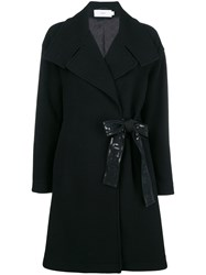 Closed Belted Tailored Coat Black