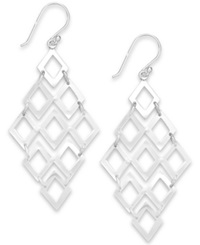 Studio Silver Diamond Shaped Chandelier Earrings In Sterling Silver
