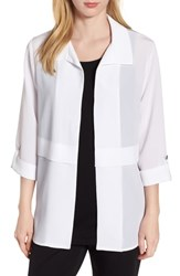 Ming Wang Gauzy Roll Tab Sleeve Jacket White