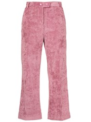 Moncler Cropped Corduroy Trousers Pink