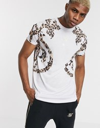 Sik Silk Siksilk Oversized T Shirt In White With Baroque Print