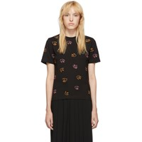 Mcq By Alexander Mcqueen Black Embroidered Swallow T Shirt