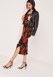 Missguided Printed Crinkle Midi Skirt Black Black