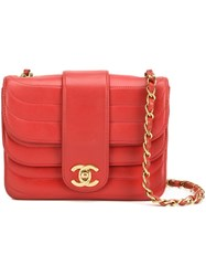 Chanel Vintage Mini Double Flap Crossbody Bag Red