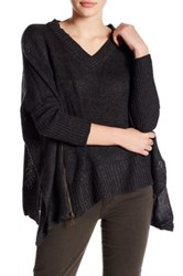 Romeo And Juliet Couture Asymmetrical V Neck Sweater Gray