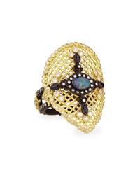 Old World Mesh Pear Ring Armenta Black