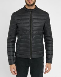 Ikks Black Micro Pattern Lining Down Jacket
