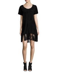 Rta Denim Short Sleeve Fringe Dress Black Suede