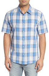 O'neill Men's Jack 'Bolsa' Regular Fit Short Sleeve Plaid Sport Shirt Blue