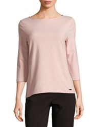 Imnyc Isaac Mizrahi Three Quarter Sleeve Boatneck Tee Soft Pink