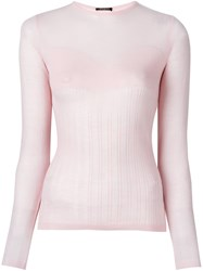 Balmain Ribbed Knit Top Pink Purple